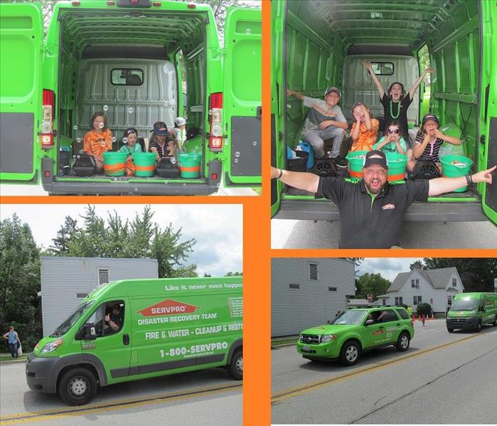 collage of four photos with a SERVPRO vehicle