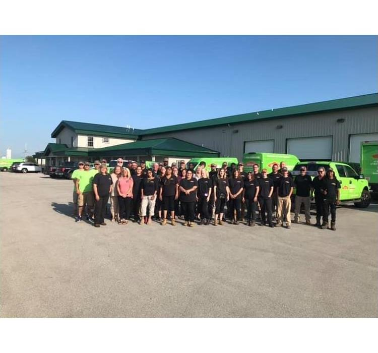 SERVPRO crews in front of our offices.