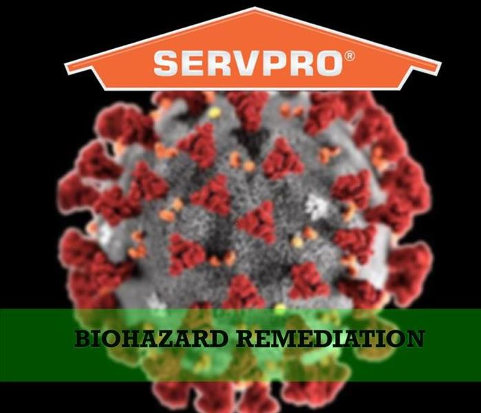 Germ with SERVPRO logo and the words Biohazard Remediation
